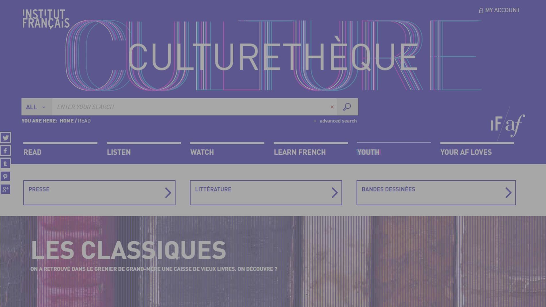 Image capture of Culturethèque home page