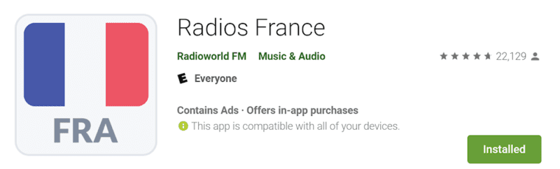 Screen capture of Radios France home page