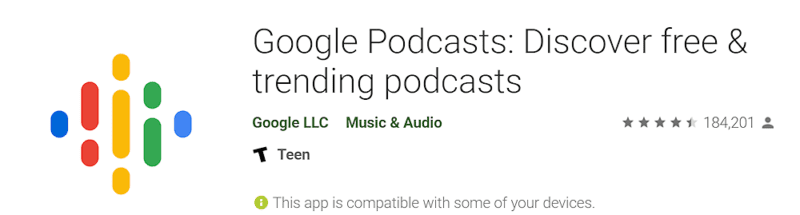 Screen capture of Google Podcast download page