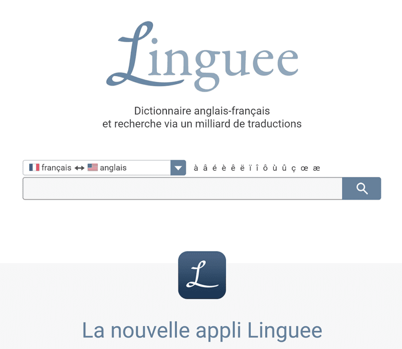 Linguee English-French dictionary screen capture
