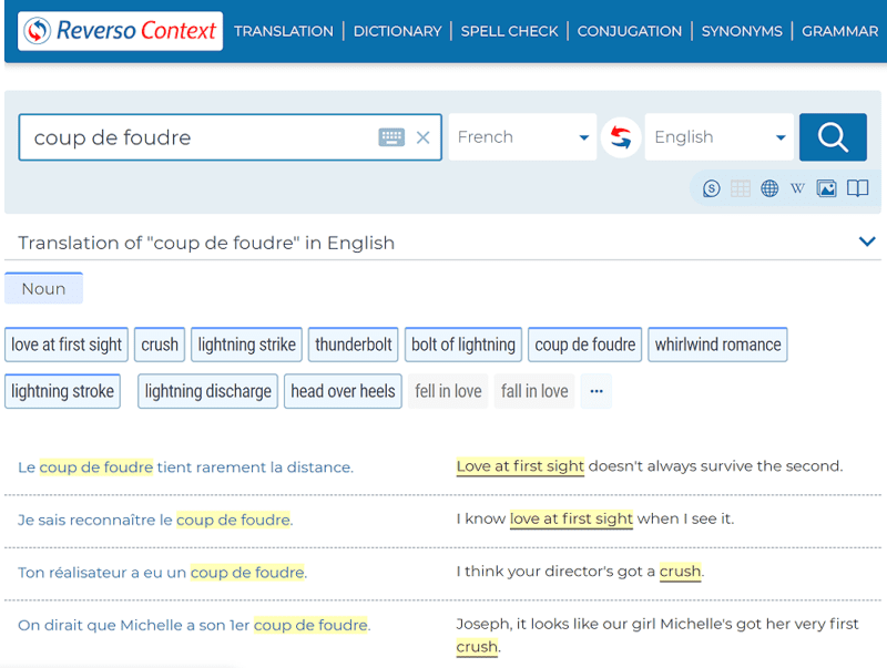Reverso Context English-French dictionary screen capture