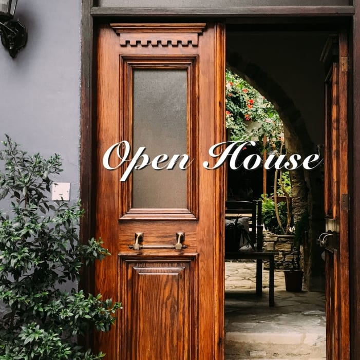"""Image of a beautiful entryway in an Aix-en-Provence home with the words """"Open House"""""""