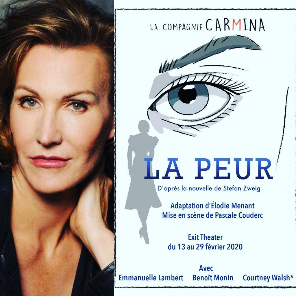 Image of Playbill for La Peur and portrait of Courtney Walsh, actor